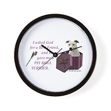 Pit Bull Terrier (White) Wall Clock