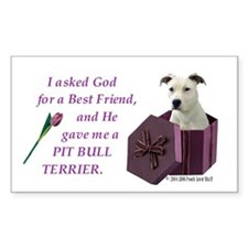 Pit Bull Terrier (White) Rectangle Decal