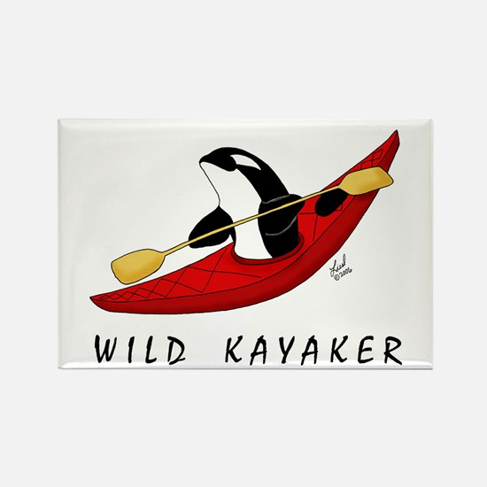 Wild Kayaker Rectangle Magnet