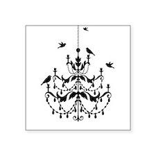"Vintage chandelier with birds Square Sticker 3"" x"