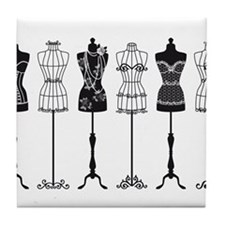 Vintage fashion mannequins silhouettes Tile Coaste