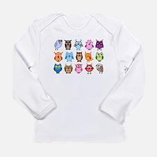 Colorful cute owls Long Sleeve Infant T-Shirt