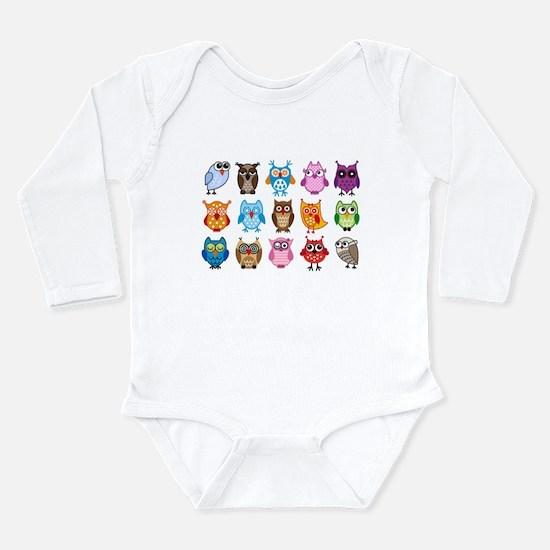 Colorful cute owls Long Sleeve Infant Bodysuit