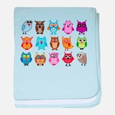 Colorful cute owls baby blanket