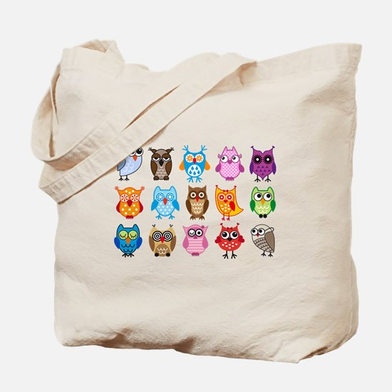Colorful cute owls Tote Bag