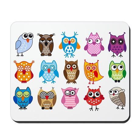 Colorful cute owls Mousepad