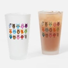 Colorful cute owls Drinking Glass