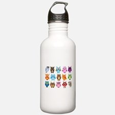 Colorful cute owls Water Bottle