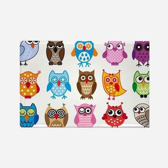 Colorful cute owls Rectangle Magnet