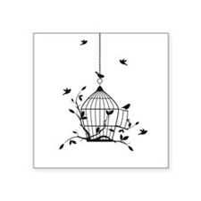 "Free birds with open birdcage Square Sticker 3"" x"
