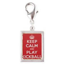 Keep Calm Play Kickball Silver Portrait Charm