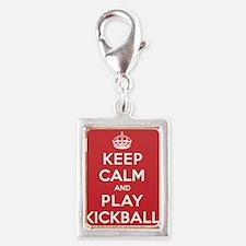 Keep Calm Play Kickball Silver Portrait Charm