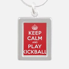 Keep Calm Play Kickball Silver Portrait Necklace