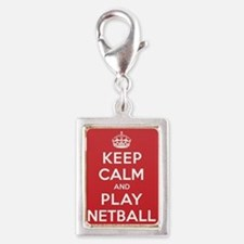 Keep Calm Play Netball Silver Portrait Charm