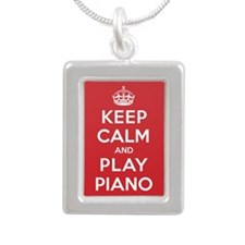Keep Calm Play Piano Silver Portrait Necklace