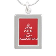 Keep Calm Play Racquetball Silver Portrait Necklac