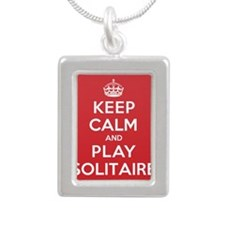 Keep Calm Play Solitaire Silver Portrait Necklace