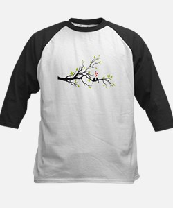 Birds in love with red hearts on spring tree Tee