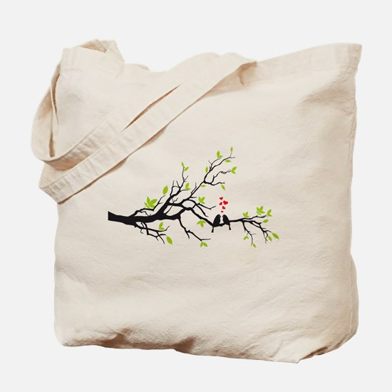 Birds in love with red hearts on spring tree Tote