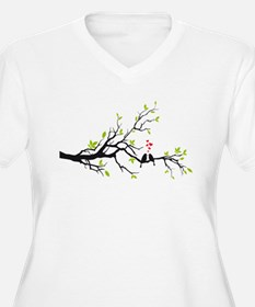 Birds in love with red hearts on spring tree Women