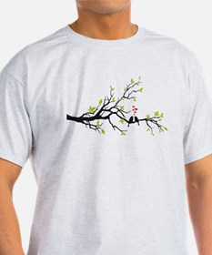 Birds in love with red hearts on spring tree T-Shirt