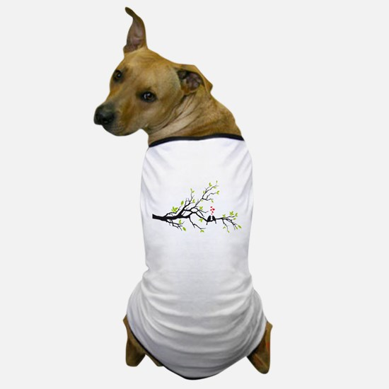Birds in love with red hearts on spring tree Dog T