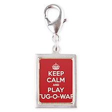 Keep Calm Play Tug-O-War Silver Portrait Charm