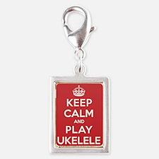 Keep Calm Play Ukelele Silver Portrait Charm