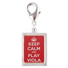 Keep Calm Play Viola Silver Portrait Charm