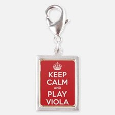Keep Calm Play Viola Silver Portrait Charm