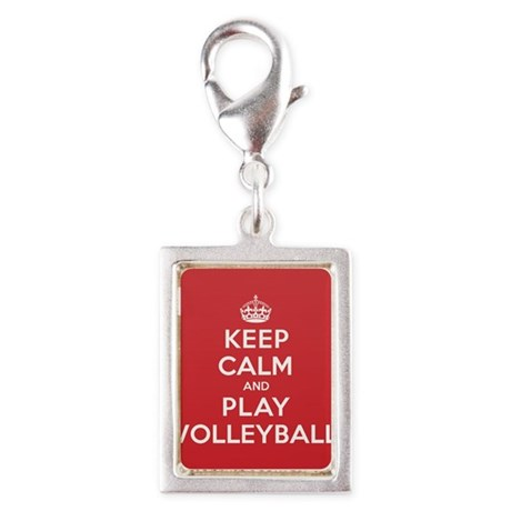 Keep Calm Play Volleyball Silver Portrait Charm