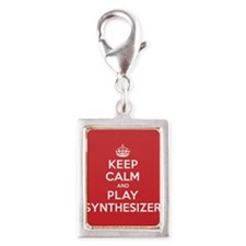 Keep Calm Play Synthesizer Silver Portrait Charm