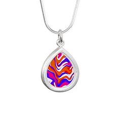 Squiggly Pink Purple Orange Teardrop Jewelry Silve