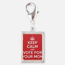 K C Vote Your Mom Silver Portrait Charm