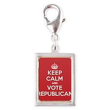 K C Vote Republican Silver Portrait Charm