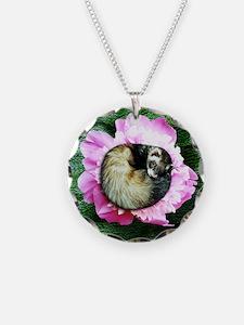 Sleeping Ferret in Petunia Round Jewelry Necklace