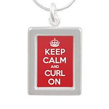 Keep Calm Curl Silver Portrait Necklace