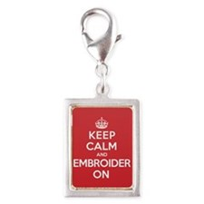 Keep Calm Embroider Silver Portrait Charm