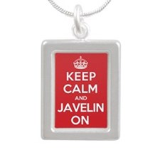Keep Calm Javelin Silver Portrait Necklace