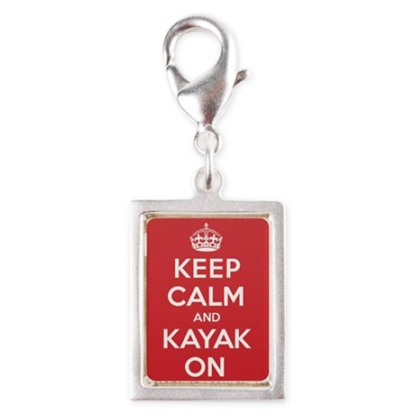 Keep Calm Kayak Silver Portrait Charm
