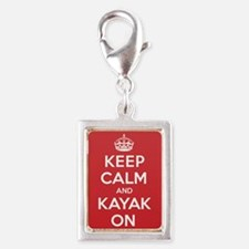 Keep Calm Kayak Silver Portrait Charm