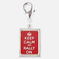 Keep Calm Rally Silver Portrait Charm