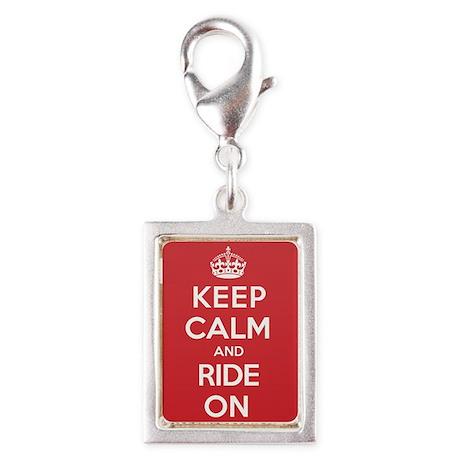 Keep Calm Ride Silver Portrait Charm