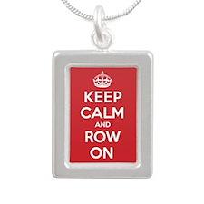 Keep Calm Row Silver Portrait Necklace