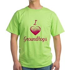 I Love/Heart Groundhogs T-Shirt