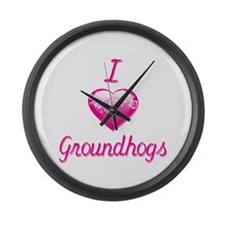 I Love/Heart Groundhogs Large Wall Clock