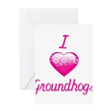 I Love/Heart Groundhogs Greeting Card
