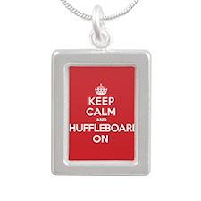 Keep Calm Shuffleboard Silver Portrait Necklace