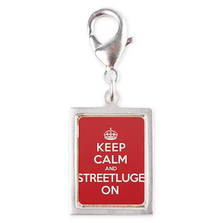 Keep Calm Streetluge Silver Portrait Charm