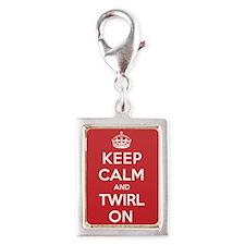 Keep Calm Twirl Silver Portrait Charm